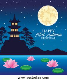 happy mid autumn festival card with castle and moon