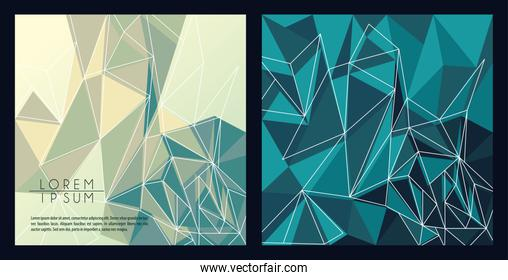 green and blue color polygonal space backgrounds