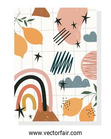hand drawn contemporary, fruits foliage rainbow grid background, trendy print collage color