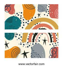hand drawn contemporary, trendy print collage color