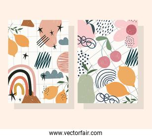 hand drawn contemporary, flower fruits decoration trendy print collage color banners