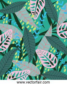 tropical leaves texture exotic vegetation color spot decoration background