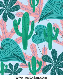tropical leaves cactus foliage nature exotic background