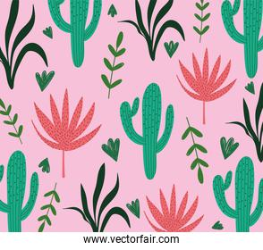 tropical leaves cactus plant foliage exotic pink background