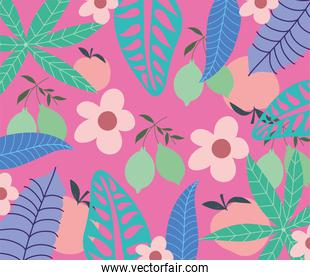 tropical leaves trendy fruits flowers exotic foliage pink background