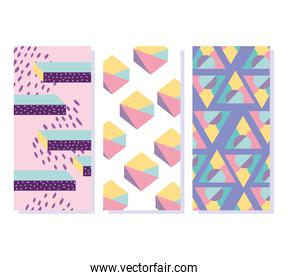 memphis abstract pattern shapes 80s minimalist banners
