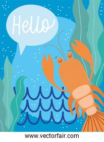 under the sea, lobster algae water wide marine life landscape cartoon