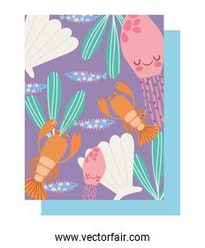 under the sea, lobster jellyfishes shell fishes algae water wide marine life landscape cartoon