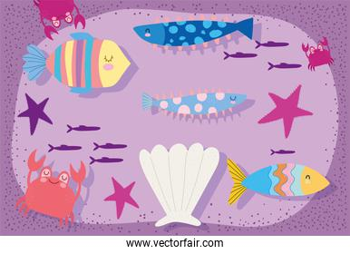 under the sea, fishes shell starfishes crab wide marine life landscape cartoon