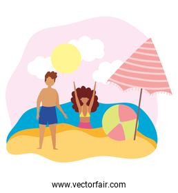 summer people activities, boy and girl with ball and umbrella, seashore relaxing and performing leisure outdoor