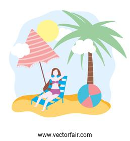 summer people activities, woman resting on deck chair with umbrella and ball, seashore relaxing and performing leisure outdoor