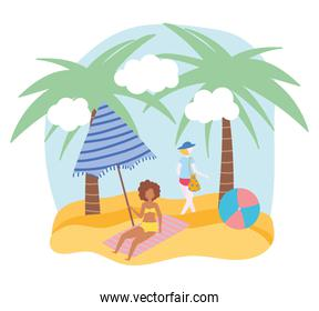 summer people activities, woman and girl with ball umbrella, seashore relaxing and performing leisure outdoor