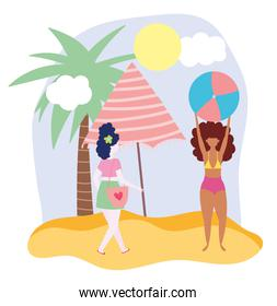 summer people activities, young women with ball and umbrella in the beach, seashore relaxing and performing leisure outdoor
