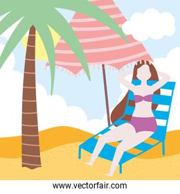 summer people activities, girl resting on deck chair with umbrella, seashore relaxing and performing leisure outdoor