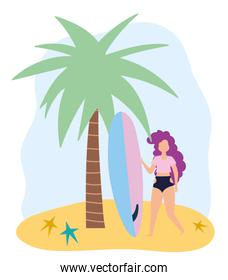 summer people activities, funny girl with surfboard, seashore relaxing and performing leisure outdoor