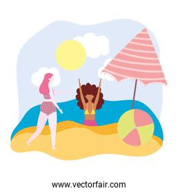 summer people activities, funny girls with beach ball and umbrella, seashore relaxing and performing leisure outdoor