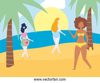 summer people activities, girls walking in the beach, seashore relaxing and performing leisure outdoor