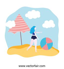 summer people activities, girl with ball umbrella, seashore relaxing and performing leisure outdoor
