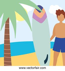 summer people activities, young man holding surfboard in the beach, seashore relaxing and performing leisure outdoor
