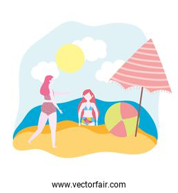 summer people activities, woman and girl with umbrella and ball, seashore relaxing and performing leisure outdoor