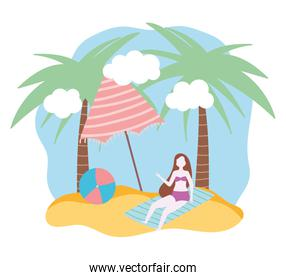 summer people activities, girl in towel with ball and umbrella, seashore relaxing and performing leisure outdoor