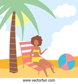 summer people activities, cartoon girl with deck chair ball, seashore relaxing and performing leisure outdoor