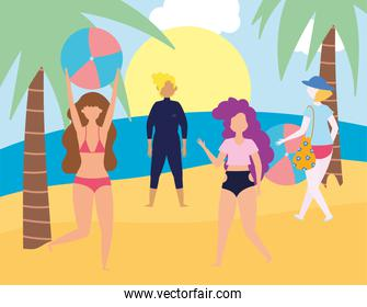 summer people activities, people with swimsuits in beach, seashore relaxing and performing leisure outdoor