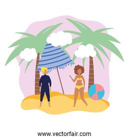 summer people activities, man and woman with umbrella ball, seashore relaxing and performing leisure outdoor