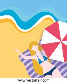 summer people activities, woman on towel with umbrella in the beach, seashore relaxing and performing leisure outdoor