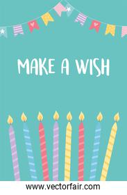 happy birthday, burning candles and decorative pennants celebration party card