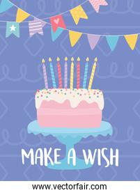 happy birthday, sweet cake with candles and pennants decoration celebration party