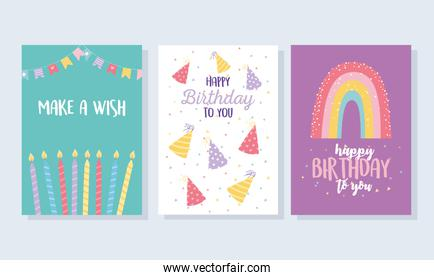 happy birthday, hats candles rainbow decoration celebration greeting card and party invitation templates