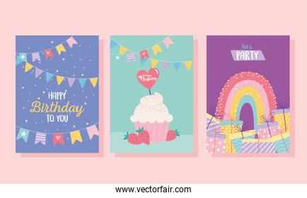 happy birthday, cupcake gifts rainbow decoration celebration greeting card and party invitation templates