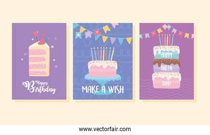 happy birthday, sweet cakes candles pennants decoration celebration greeting card and party invitation templates