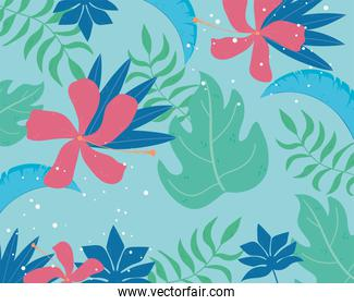 tropical leaves texture exotic plants nature background