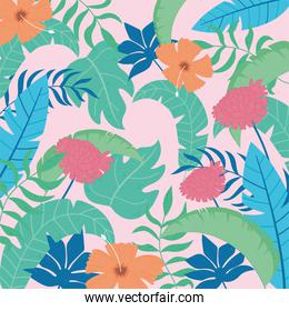 tropical leaves flowers pattern, vivid foliage, with monstera palm leaf pink background