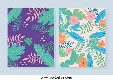 tropical leaves banner with exotic palm plants flowers and leaves