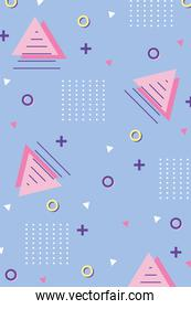 memphis 80s 90s style abstract triangles various shapes background