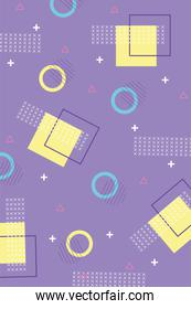 geometric halftone shapes memphis 80s 90s style abstract background