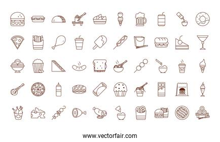 fast food dinner and menu, tasty meal and unhealthy, restaurant lunch icons set line and fill style