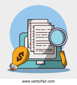 money business financial laptop analysis dcuments solution