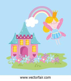 flying winged little fairy princess rainbow and castle with flowers tale cartoon