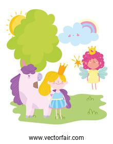 flying little fairy princess girl with crown and unicorn tale cartoon