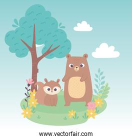 cute little squirrel and bear on grass with flowers and tree cartoon