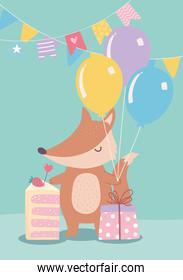 happy birthday, cute little fox with cake gift and balloons celebration decoration cartoon