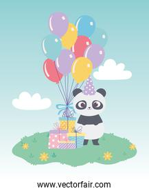 happy birthday, cute little panda with gift boxes and balloons celebration decoration cartoon