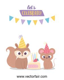 happy birthday, cute squirrel and mouse with party hats and cake celebration decoration cartoon