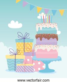 happy birthday, cake with candles and gift boxes celebration decoration cartoon