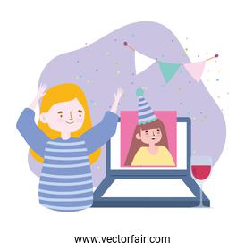 online party, meeting friends, women talking with video call on laptop happy birthday celebration