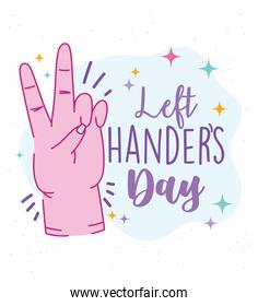 left handers day, hand showing peace and love sign cartoon celebration over white